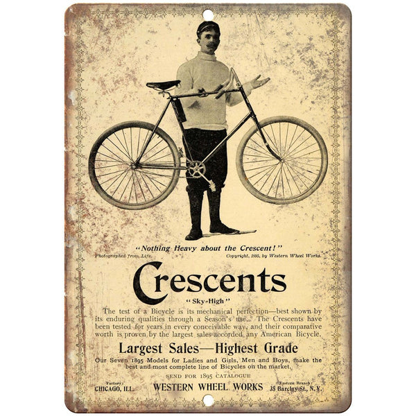 "Crescents Sky High Bicycle Vintage Ad 10"" x 7"" Reproduction Metal Sign B379"
