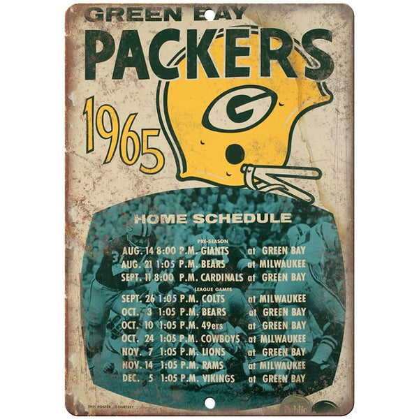 "1965 Green Bay Packers Home Schedule 10"" x 7"" Vintage Look Reproduction"