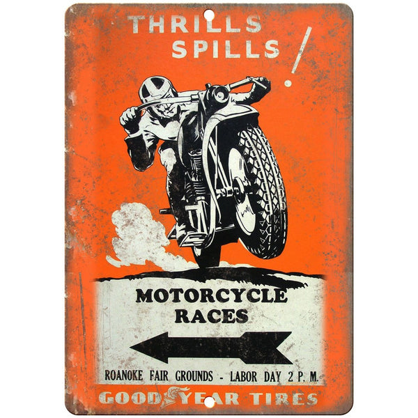 """Good Year Tires Motorcycle Races Roanoke  10/"""" x 7/"""" Reproduction Metal Sign F04"""