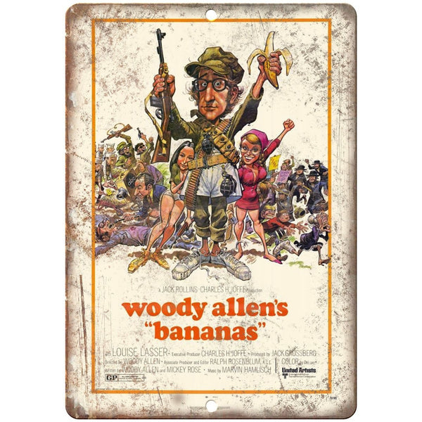 "Woody Allen Bananas Movie Poster 10"" x 7"" Reproduction Metal Sign"