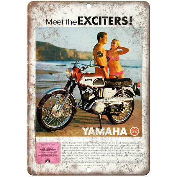"Yamaha Exciters Motorcycle Ad 10"" x 7"" Reproduction Metal Sign A462"