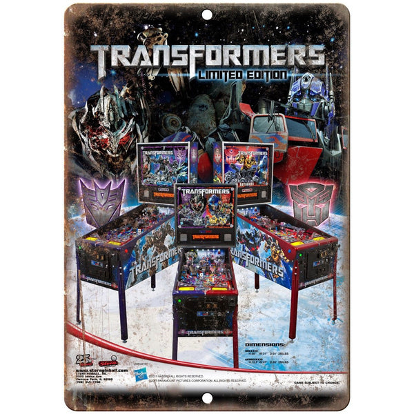 "Transformers Limited Edition Pinball Machine 10""x7"" Reproduction Metal Sign G201"
