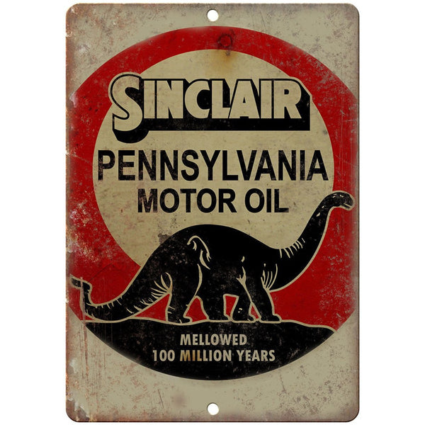 "Porcelain Look Sinclair Pennsylvania Motor Oil 10"" x 7"" Retro Look Metal Sign"