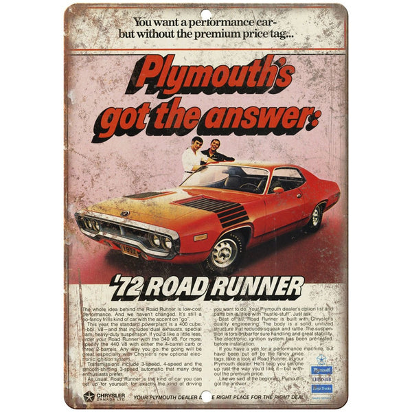 "1972 Plymouth Road Runner 10"" x 7"" Vintage Look Reproduction"