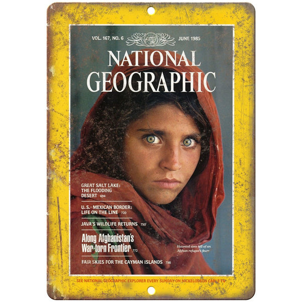 "National Geographic June 1985 Afghan Girl 10"" x 7"" Reproduction Metal Sign C63"