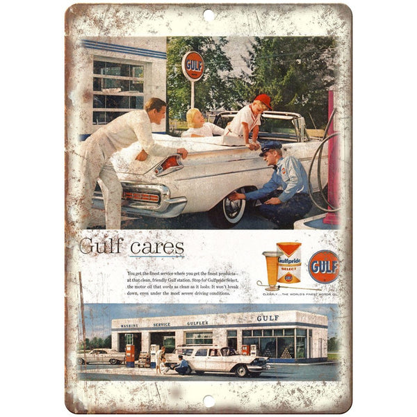 "Gulf Motor Oil Gulf Cares Gulfpride Retro Ad 10""x7"" Reproduction Metal Sign A09"