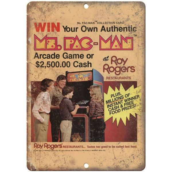 "Pac-Man Arcade Game Roy Rogers 10"" x 7"" Retro Look Metal Sign"