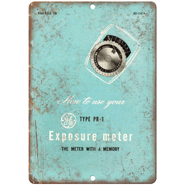 "GE Exposure Meter 35 mm Camera 10"" x 7"" Retro Look Metal Sign"