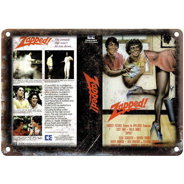 "Embassy Home Video Zapped! VHS Cover Art 10"" X 7"" Reproduction Metal Sign V09"