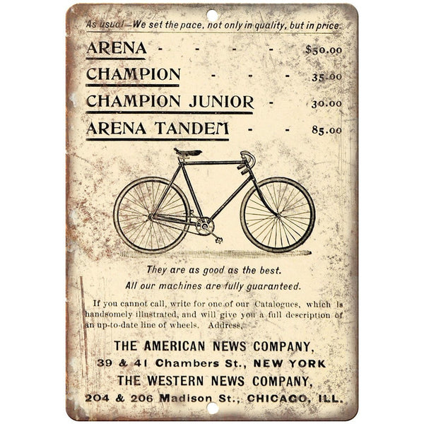 "Arena Champion Bicycle Vintage Art Ad 10"" x 7"" Reproduction Metal Sign B439"
