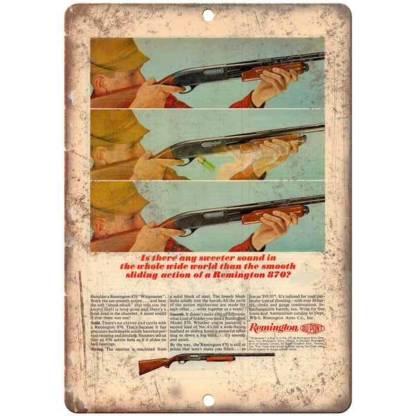 "Remington 870 Wingmaster Shotgun Vintage Ad 10"" x 7"" Metal Sign"