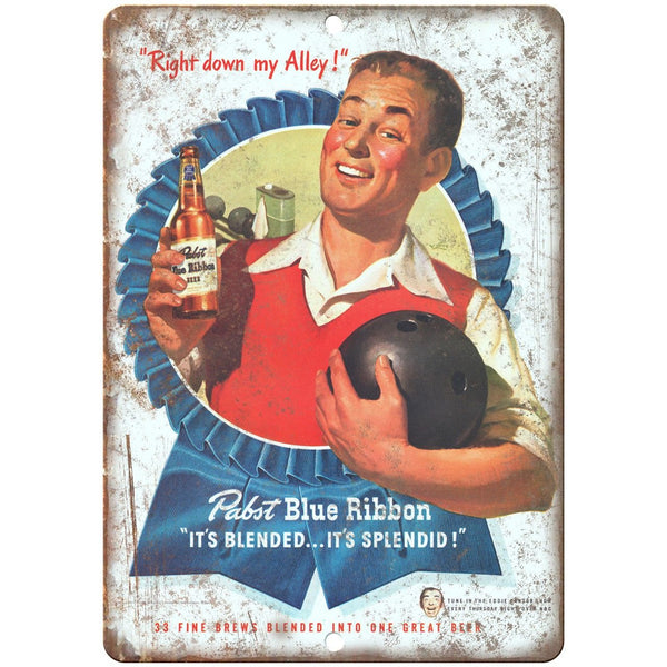 "Pabst Blue Ribbon Vintage Ad Breweriana 10"" x 7"" Reproduction Metal Sign E18"