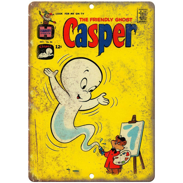 "Casper The Friendly Ghost Comic Harvey 10"" X 7"" Reproduction Metal Sign J182"