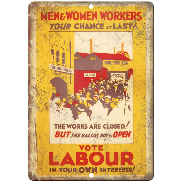 "England London Vote Labour Party RARE Poster 10"" x 7"" Reproduction Metal Sign"
