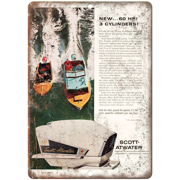 "Scott Atwater Boat Vintgae Ad 10"" x 7"" Reproduction Metal Sign L87"