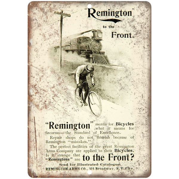 "Remington Bicycle Vintage Ad 10"" x 7"" Reproduction Metal Sign B317"