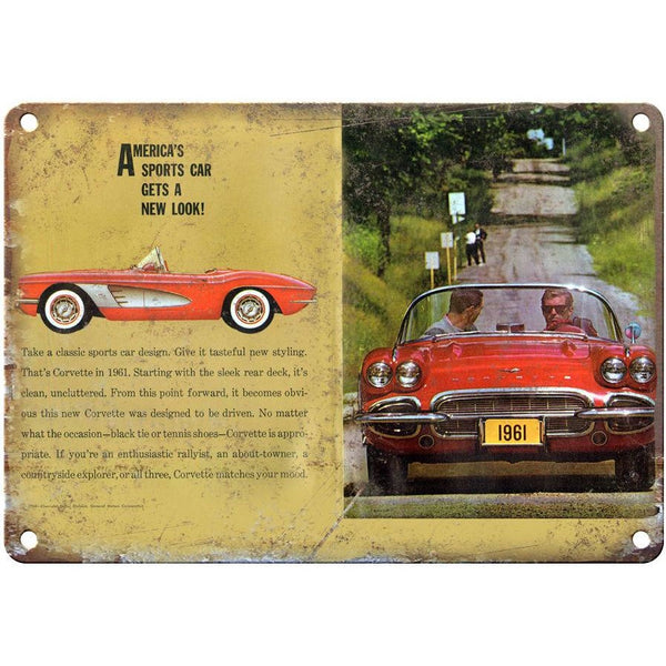 "1961 Chevy Corvette Brochure 10"" x 7"" Reproduction Metal Sign"