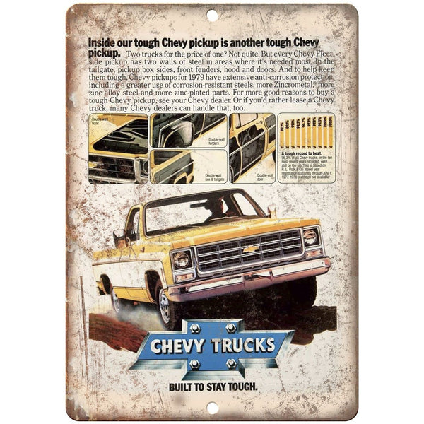 "1979 Chevy Pickup Trucks Vintage Print Ad 10"" x 7"" Reproduction Metal Sign"