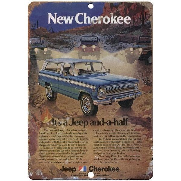 "Jeep Cherokee 10"" x 7"" Reproduction Metal Sign"