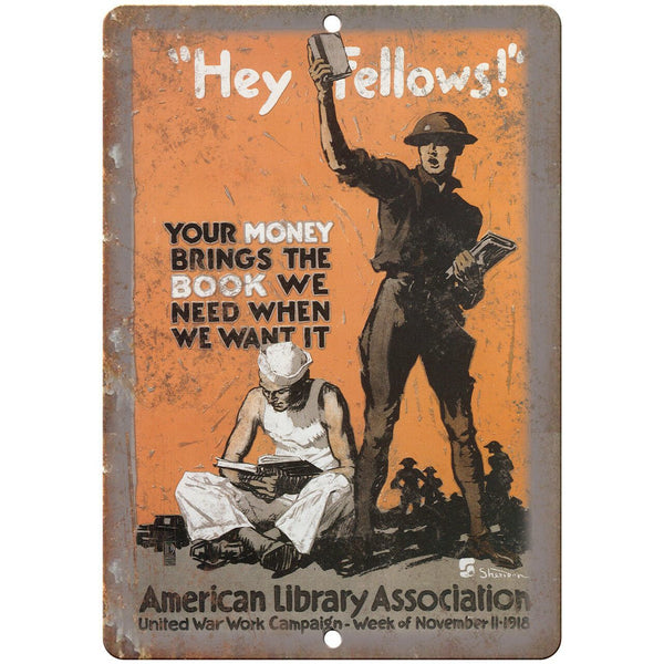"American Library Association War Poster Art 10"" x 7"" Reproduction Metal Sign M89"
