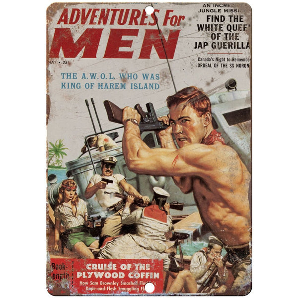 "1959 Pulp Mag Adventures for Men Harem Island 10"" x 7"" reproduction metal sign"