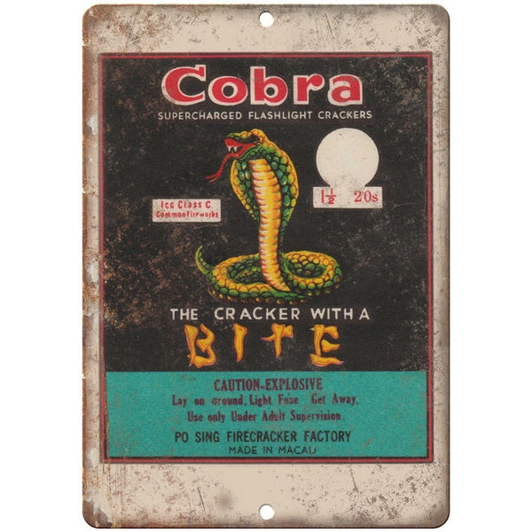 "Cobra Firecrackers Package Art 10"" X 7"" Reproduction Metal Sign ZD45"