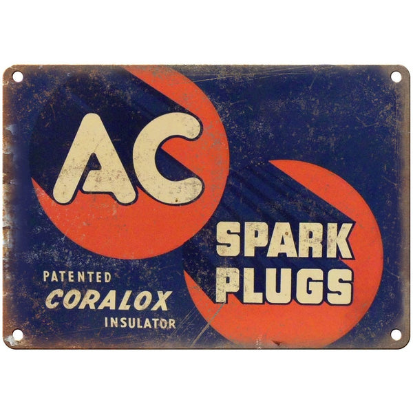 "Porcelain Look AC Spark Plugs Coralox Insulator 10"" x 7"" Reproduction Metal Sign"