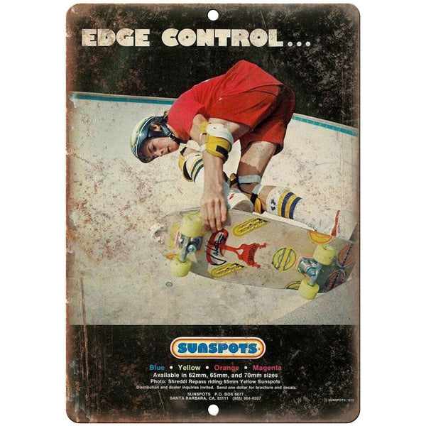 "Sunspots Wheels Edge Control Skateboard Ad - 10"" x 7"" Reproduction Metal Sign"