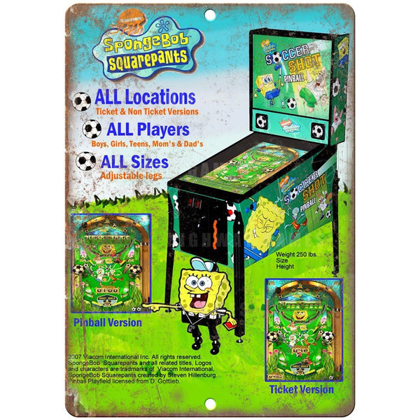 "SpongeBob Pinball Machine Ad 10"" x 7"" Reproduction Metal Sign G205"