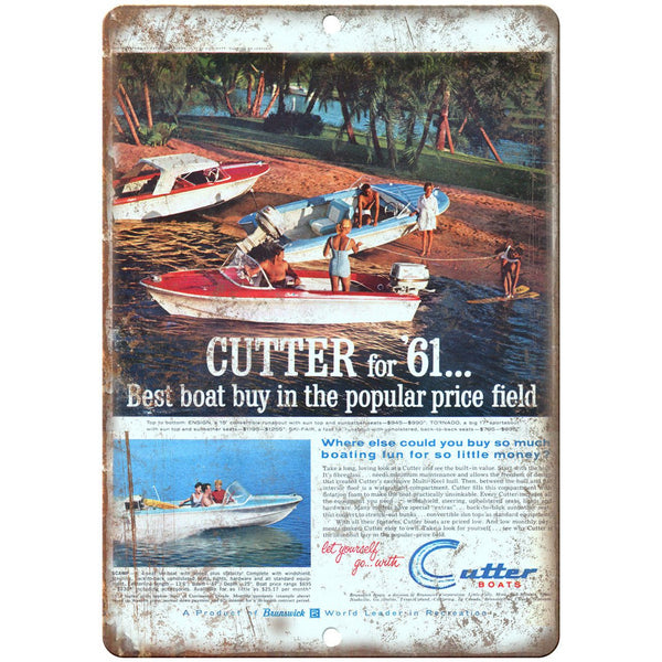 "61 Cutter Boat Vintage Ad 10"" x 7"" Reproduction Metal Sign L55"