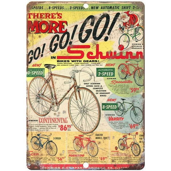 "1960 Schwinn vintage advertising 10"" x 7"" reproduction metal sign"
