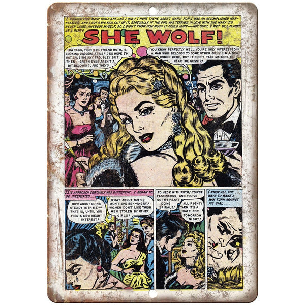 "Ace Comics She Wolf Vintage Comic Strip 10"" X 7"" Reproduction Metal Sign J399"