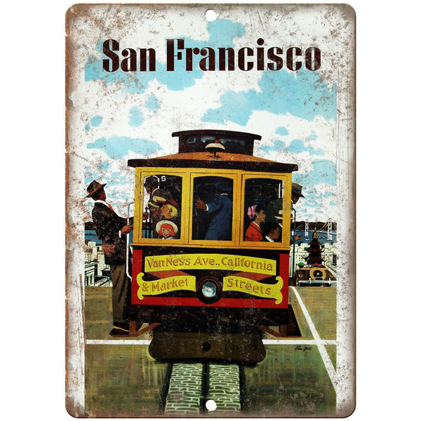 "San Francisco Travel Poster Art 10"" x 7"" Reproduction Metal Sign T89"