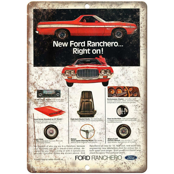 "Ford Ranchero Vintage Ad 10"" x 7"" Reproduction Metal Sign"