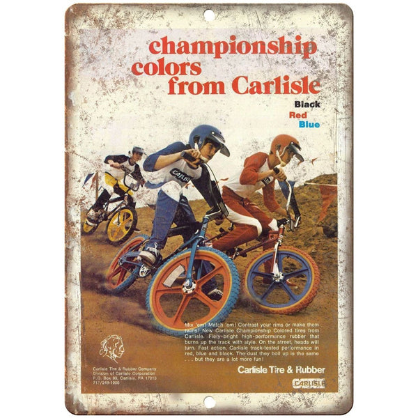 "10"" x 7"" Metal Sign - Carlisle Tire & Rubber BMX - Vintage Look Reproduction"