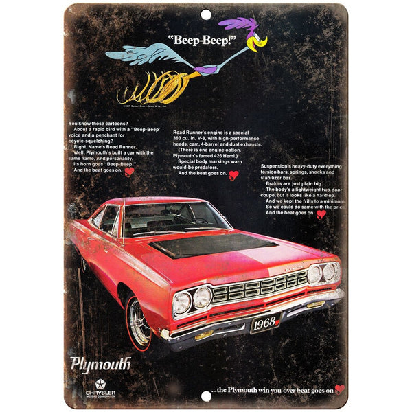 "1968 Plymouth Road Runner 10"" x 7"" Vintage Look Reproduction"