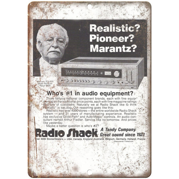 "Radio Shack Tandy Audio Equipment Vintage Ad 10"" x 7"" Reproduction Metal Sign"