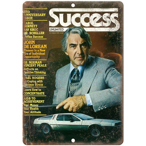 "John DeLorean Success Magazine Cover RARE - 10"" x 7"" Retro Look Metal Sign"
