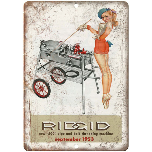 "1953 Ridgid Pipe and Belt Threading Machine Ad - 10"" x 7"" Retro Look Metal Sign"