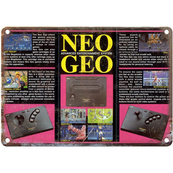 "Neo Geo Entertainment System 10"" x 7"" reproduction metal sign"