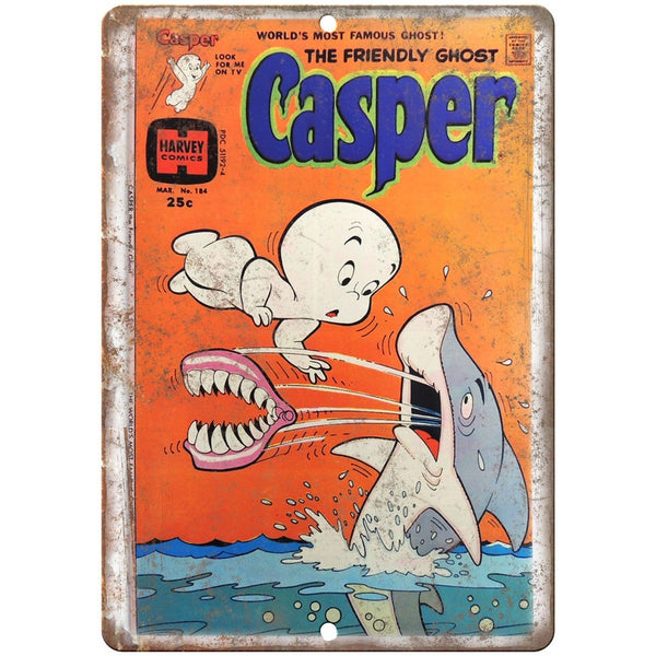 "Casper The Ghost Harvey Vintage Comic 10"" X 7"" Reproduction Metal Sign J204"