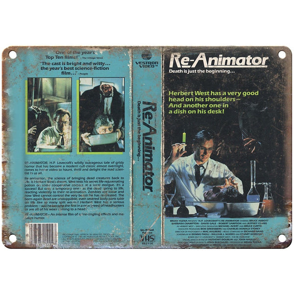 "Re-Animator Vestron Video VHS Box Art 10"" X 7"" Reproduction Metal Sign V16"