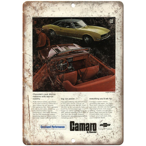 "Chevy Camaro Vintage Print Ad Man Cave 10"" x 7"" Reproduction Metal Sign"