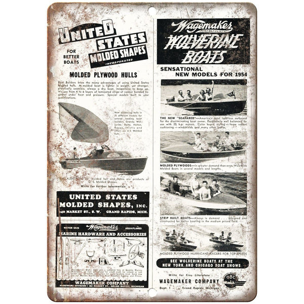 "1954 Wagemakes Wolverine Boat Vintage Ad 10"" x 7"" Reproduction Metal Sign L91"