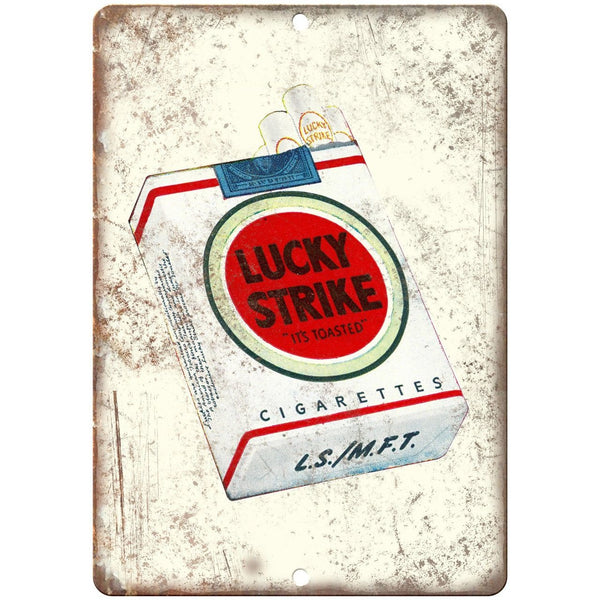 "Lucky Strike Cigarette Pack Vintage Ad 10"" X 7"" Reproduction Metal Sign Y01"