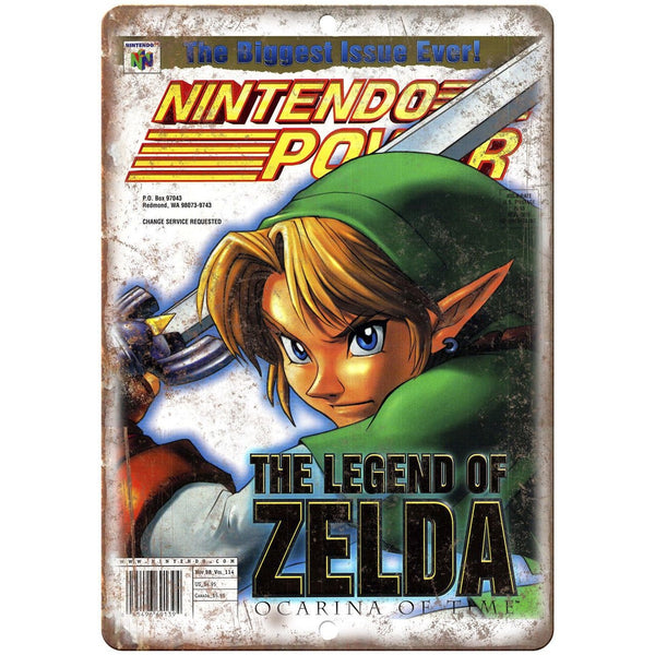 "Nintendo Power Legend of Zelda Ocarina Time 10"" X 7"" Reproduction Metal Sign G39"