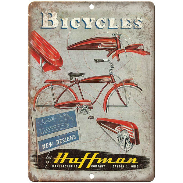 "1941 Huffman Bicycles Vintage Ad - 10"" x 7"" Retro Look Metal Sign"