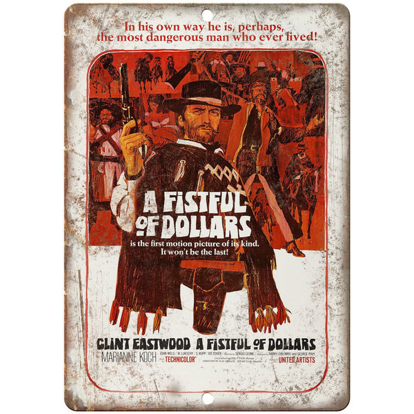 "A Fistful of Dollars Clint Eastwood Ad 10"" X 7"" Reproduction Metal Sign I166"