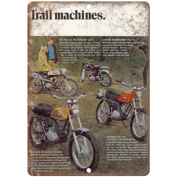 "Trail Machines Trailmaster Motorcycle Ad 10"" x 7"" Reproduction Metal Sign A365"