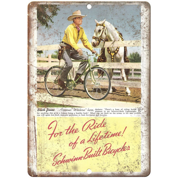 "1941 Schwinn Bicycles Buck Jones Vintage Ad - 10"" x 7"" Retro Look Metal Sign"